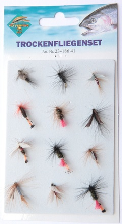 Behr Dry flies on card, 12 pièces !