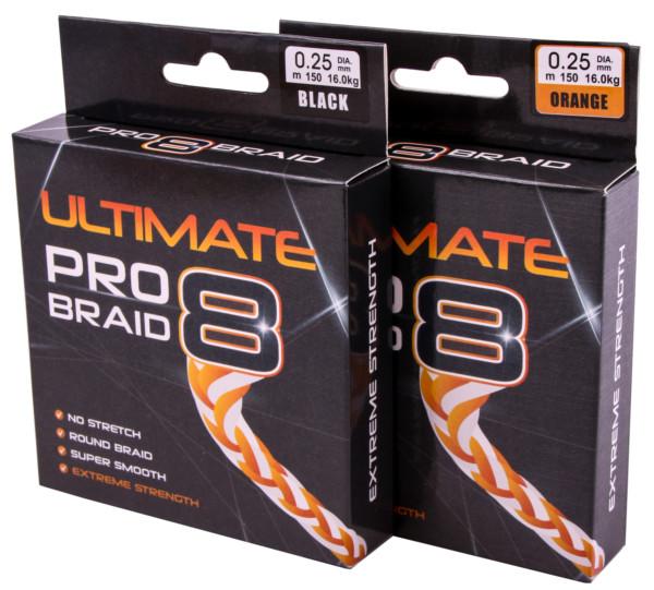 Ultimate Pro-8 Tresse (Choix entre orange fluo et noire, diamètres variés)
