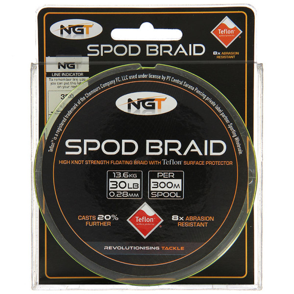 NGT Teflon Coated Floating Spod Braid 30lb 300m Fluo Yellow